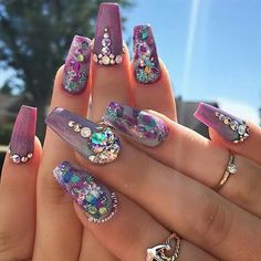 # Purple Nail Art - Coffin nails are fun to experiment with. Take a look at these 69 impressive designs you will definitely want to play around with. Fabulous Nails, Perfect Nails, Gorgeous Nails, Get Nails, Fancy Nails, Hair And Nails, Rhinestone Nails, Bling Nails, 3d Nail Designs