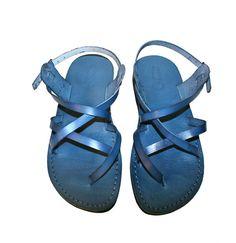 Blue Triple Leather Sandals for Men & Women by SANDALI on Etsy