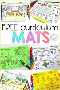 Grab the FREE curriculum mats to practice and build writing, listening, reading comprehension, word, and math skills daily! #teacherfreebie #teachingreading #kidwriting #wordwork #teachingmath