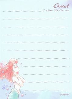 small cute memo pad with Disney fairy tale character Ariel