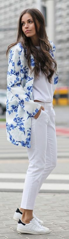 Floral Jacket Outfit Idea by JD Fashion Freak
