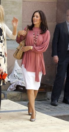 2010--Crown Princess Mary Of Denmark Leaves Storkyrkan Stockholm'S Cathedral After A Rehearsal For The Wedding Of Crown Princess Victoria Of Sweden And...