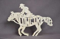 Cowgirl bis Reiten Puzzle Holz Spielzeug Hand Cut mit von Puzzimals