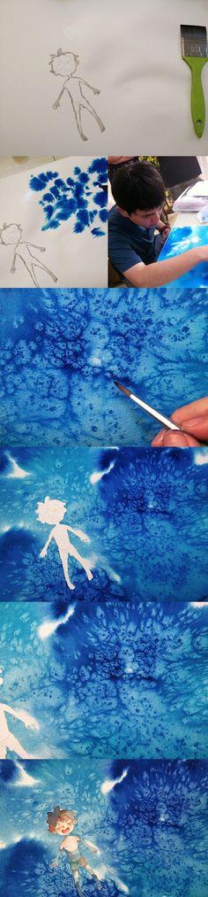【绘画教程】水彩男孩 海洋 (背景是盐的效果)