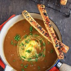 Spiced Roast Pumpkin Soup with Black Sesame Cheese Straws Chicken And Leek Pie, Roast Pumpkin Soup, Cheese Straws, Black Sesame, Gluten Free Recipes, Free Food, Curry, Spices, Ethnic Recipes