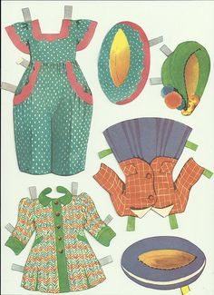 vintage paper doll clothes