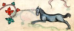 Unicorn charging the marginal decoration Luttrell Psalter, 14th c.