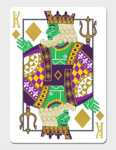 Mardi Gras Playing Cards by Dave Edgerly: The King of Diamonds | more here: http://playingcardcollector.net/2015/02/16/mardi-gras-playing-cards-by-dave-edgerly/