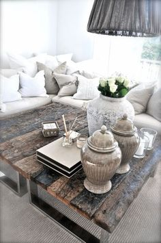 gray. Feng shui blessings/travel area wood and metal table