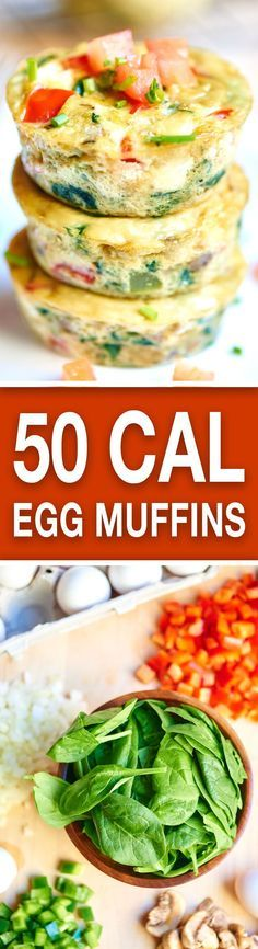 These healthy egg muffin cups can be made in advance, have less than 50 calories per muffin, and are packed with tons of protein and veggies! #daystarter