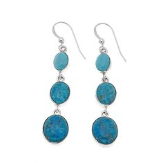 Mine Finds by Jay King Jay King 3-Stone Kingman Turquoise Drop Sterling Silver Earrings