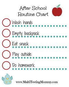 After School routine Chart - includes a blank version too!  | www.MultiTestingMommy.com