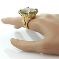 CHRISTIAN DIOR Aquamarine Diamond Large Green Ring | From a unique collection of vintage cocktail rings at http://www.1stdibs.com/jewelry/rings/cocktail-rings/
