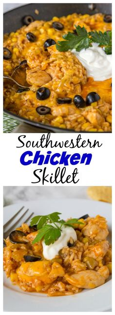One Pan Southwest Chicken Skillet – Up your chicken dinner game with lots of Southwest flavor in a quick and easy one pan dinner!