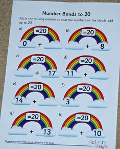 Activity Village pages for Home Ed (version Number Bonds To 20, Number Bonds Worksheets, Free Math Worksheets, Maths Resources, Activities, Activity Village, D 20, Colouring Pages, Things To Think About