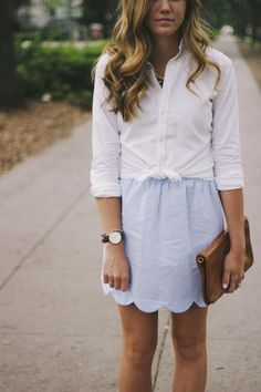 Wavy locks, a button down, seersucker skirt and you're set! Preppy pastels are always the best in Summer!