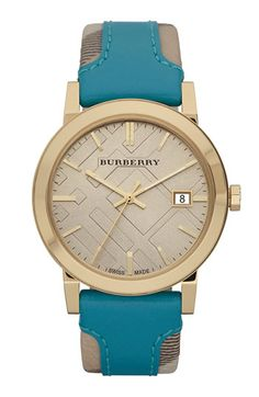 Burberry Timepieces 'Large' Stamped Leather Strap Watch | Nordstrom
