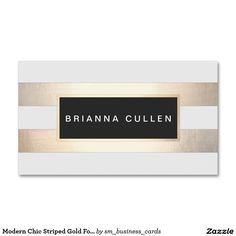 Modern Chic Striped Gold Foil (image) and Black Business Cards.  Artwork designed by Maura Reed