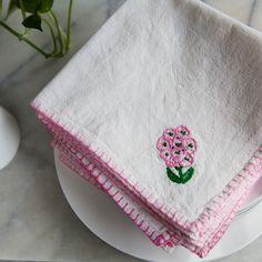 Vintage Embroidered Napkins, Blanket Stitch, Pink Floral Napkins, Floral…