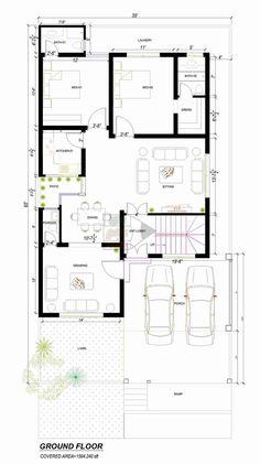 Duplex House Design, Small House Design, Bungalow Floor Plans, House Floor Plans, Building A House, Build House, Building Structure, 10 Marla House Plan, Indian House Plans