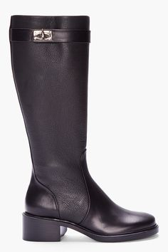 Givenchy Black Leather Sharklock Riding Boots