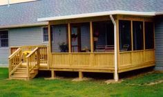 Partial screen room partial deck or patio Screened Porch Designs, Screened In Deck, Backyard Patio Designs, Cabin Porches, Decks And Porches, Closed In Porch, Porch Addition, Enclosed Patio, Back Patio