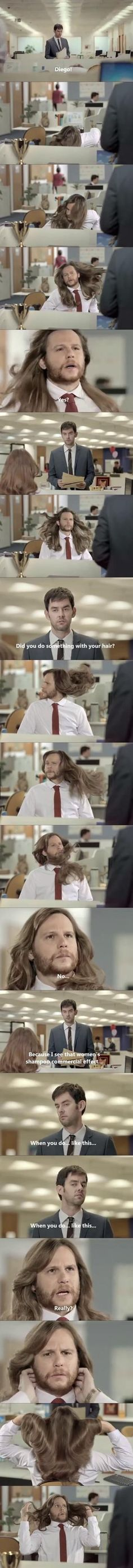 Cuando hombre usan champu de mujer