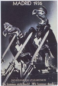 """MADRID 1936 ¡NO PASARAN! ¡PASAREMOS! Esta fue la contraportada de un número especial sobre España que incluía (pp. 228-29) un artículo titulado """"Madrid, die heroische Stadt"""" (Madrid, la ciudad heroica). A principios de noviembre de 1936, los insurrectos amenazaban Madrid. Al final de mes la situación estaba estancada."""