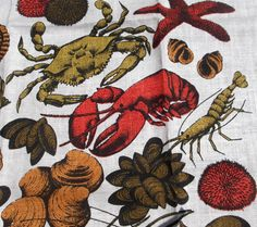 2 linen tea towels for the seaside beach house summer vacation seafood and shellfish lovers by vakvar on Etsy