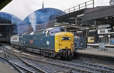 55014 'The Duke of Wellingtons Regiment' at Newcastle having substituted an ailing Class the rest of the journey to Edinburgh on July (Geoff Dowling) Train Pictures, World Pictures, Electric Locomotive, Diesel Locomotive, Electric Train, British Rail, Old Trains, Train Tickets, Central Station
