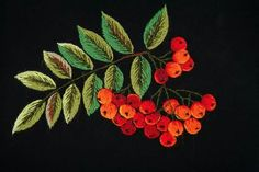 Crewelworked rowan berries - Lili Jahilo