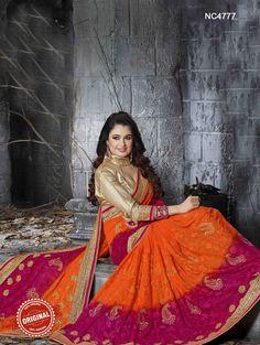 Orange & Pink Shaded Georgette Saree - Sarees Online Shopping - Natasha Couture