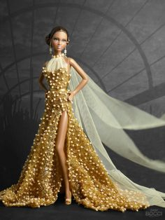 """he is """"Golden Phoenix"""" my donation to the National Barbie® Doll Collectors Convention that begins today. Inspired by the mythological Beautiful Barbie Dolls, Vintage Barbie Dolls, Fashion Dolls, Fashion Outfits, Women's Fashion, Barbie Dress, Barbie Clothes, Dolly Dress, Cooler Look"""