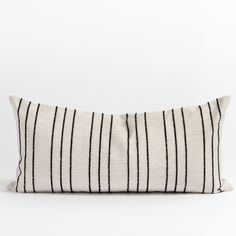 This lumbar pillow features a simple black stripe on a woven flax-toned cloth. Equal parts casual and tailored, the raised texture adds depth to the linear pattern. Use it to bring a dose of graphic impact with a classic twist to any pillow-scape. Large Beds, Large Sofa, Lumbar Pillow, Bed Pillows, Stylish Beds, Linear Pattern, Black Stripes, Pillow Inserts, Swatch