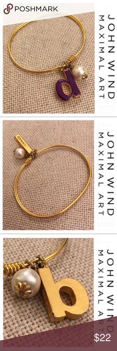 MAXIMAL ART Bangle BRACELET Petite Initial Hook Eye John Wind Circa 1985 Jewelry