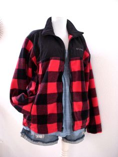 Red and Black Buffalo Plaid Jacket 90s Large by aVintageVagrant