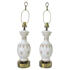 Check out this item at One Kings Lane! Decorated Opaline Lamps, Pair