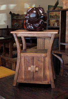Reclaimed Teak Old Plow Side Table   Gado Gado