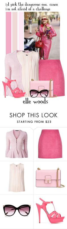 """""""Elle Woods -- 14/50 Favorite Fictional Females"""" by evil-laugh ❤ liked on Polyvore featuring Alexander McQueen, Vanessa Seward, Dolce&Gabbana, River Island and Yves Saint Laurent"""