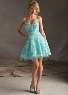 Low Price Guarantee on all 2014 prom dresses, Sticks & Stones Mori Lee 9242 blue strapless beaded lace prom dress at RissyRoos.com.