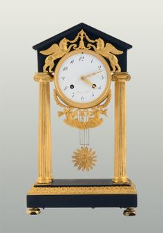 French directoire style empire clock signed Gaulin, A Paris, circa 1825. This antique gilt bronze and Belgian marble directoire style empire clock has a convex porcelain dial with arabic numerals and boasts a rare 15 day bell strike movement signed Gaulin, A Paris.