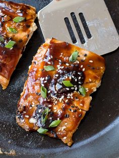 Easy Teriyaki Salmon pan-fried to perfection and served with a homemade teriyaki sauce! Serve with rice and veggies to make it a meal!