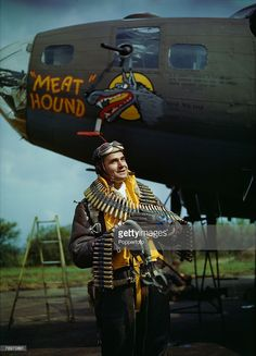 Volume 1, Page, 55, Picture, 3, World War II, 4th May,1943, US Staff Sergeant Frank T, Lusic, pictured beside a bomber