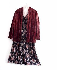 Black Friday Sale Bohemian Embroidered Velvet Burgundy by KheGreen