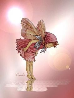 Pink Butterfly Girl... would be interesting to do something similar and place her standing on a blue water-like-mirror.