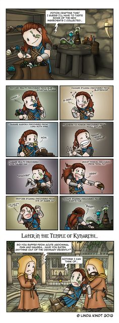 """You should be a little more specific about """"out of the ordinary"""", healer lady. An average Dovahkiin eats Daedra Hearts and Bear Claws for breakfast... Anyway, I couldn't help drawing a comic about ..."""