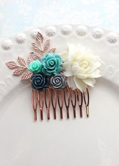 Teal Hair Comb Floral Hair Piece Rose Gold Branches Teal Teal And Grey Wedding, Teal And Gold, Teal Hair, Gold Palette, Rose Gold Nails, Bridal Nails, Cream Roses, Floral Hair, Bridal Hair Accessories