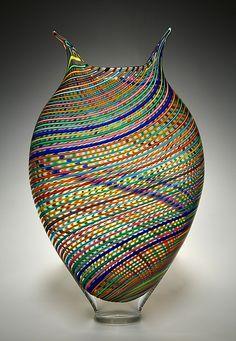 Multicolored Foglio: David Patchen: Art Glass Vessel - Artful Home