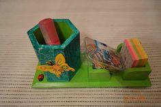 Porta - lápis em madeira pinho pintada à mão e com apliques. Para comprar ou dúvidas, contactar arte_encaixarte@hotmail.com ou www.facebook.com/encaixarte/