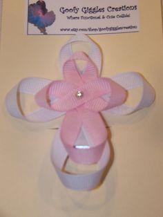 Ribbon Sculpture Cross Hair Clip. $3.50, via Etsy.